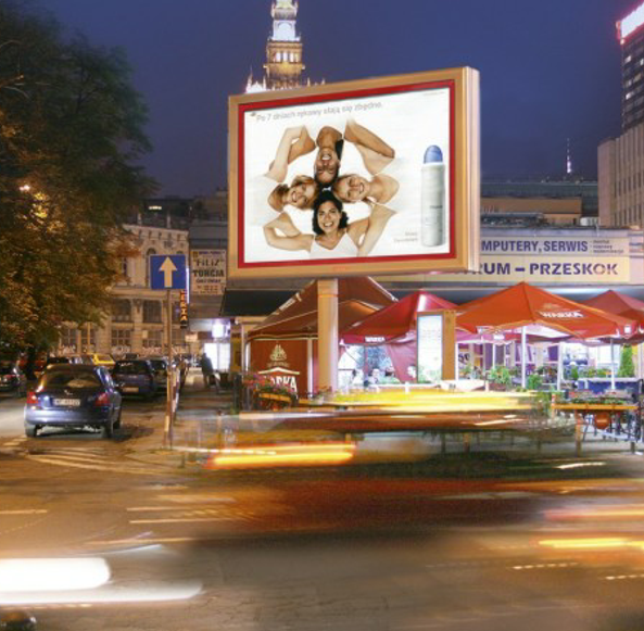 Large outdoor double-faces rotating LED advertising display column