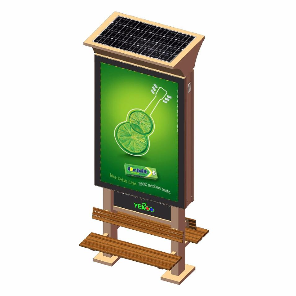 Outdoor advertising light box mupi with solar system and bench