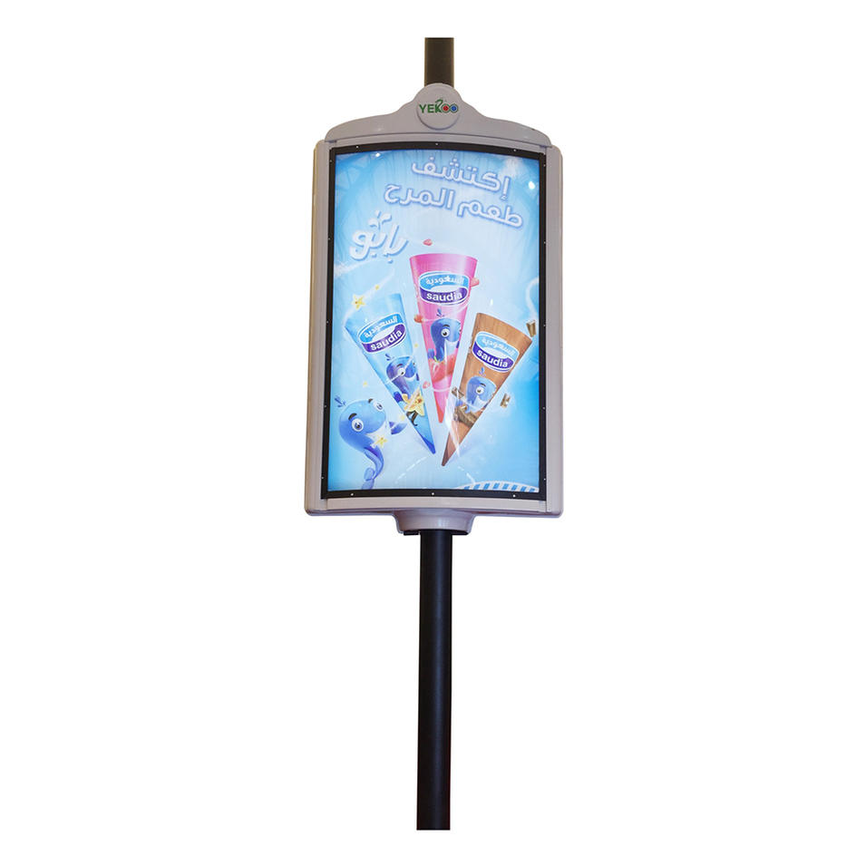 Double sided street pole advertising product/ lamp post display for sals
