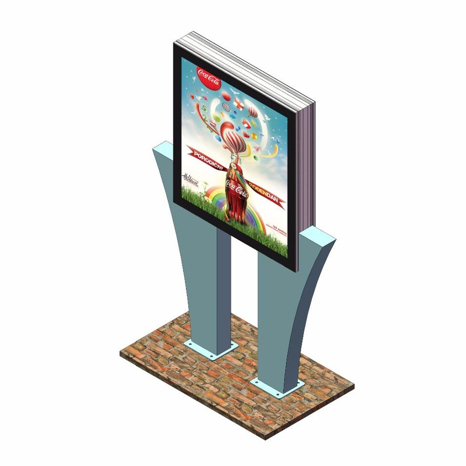 Customized sign aluminum profile street light double side advertising light box