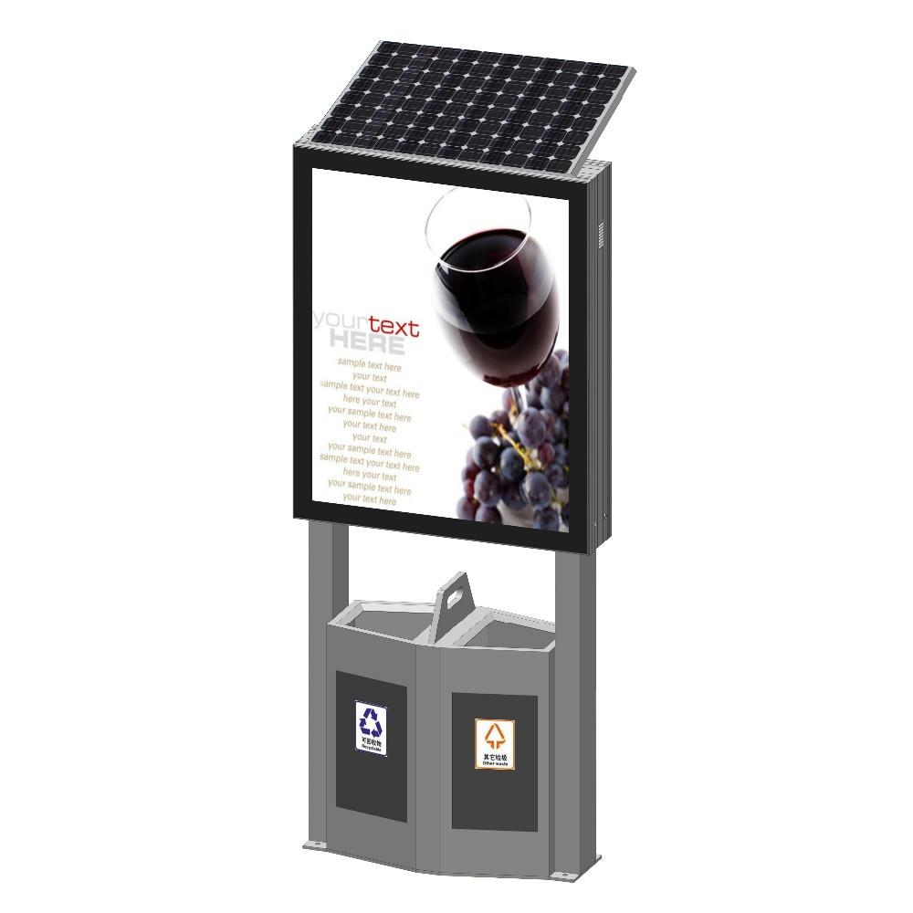 Creative design metal frame led light box with trash bin