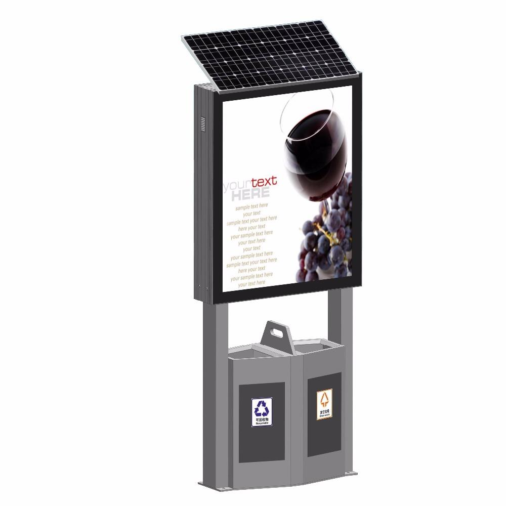 New Style Metal Advertising Scrolling Light Box Solar Light Box With Dustbin