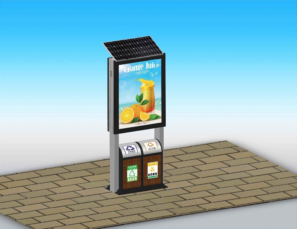 Excellent quality outdoor solar panel advertising light box with trash bins