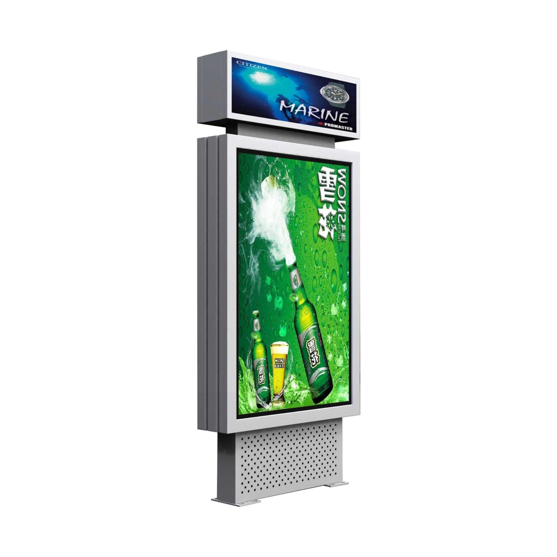 Customized material advertising light box with trash bin