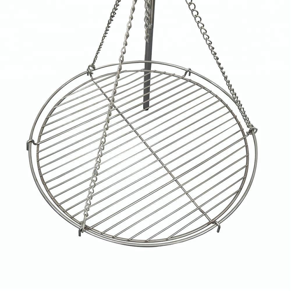 Outdoor hanging charcoal grill barbecue tripod fire pit
