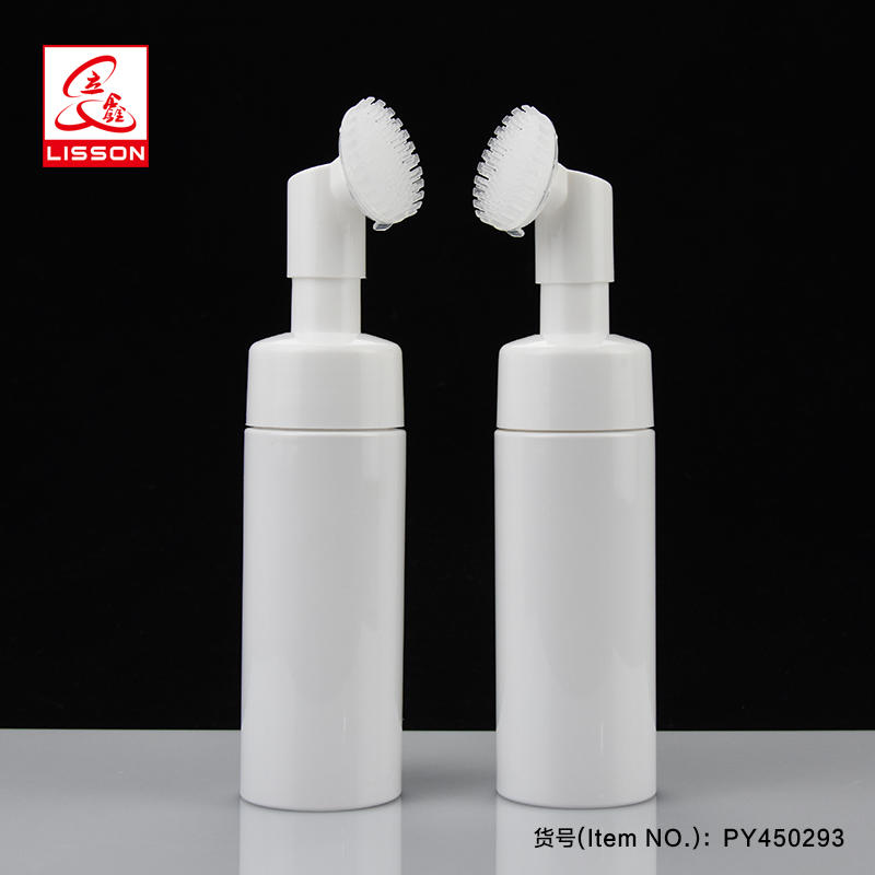 Empty Facial Cleaner Soft Brush Cosmetic Plastic bottle Packaging With Soft Brush Head