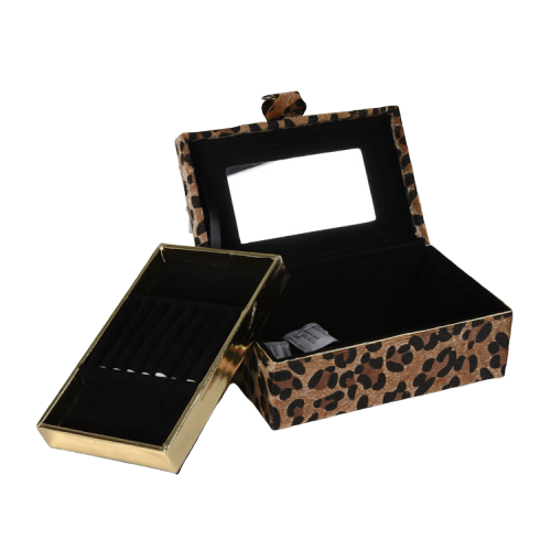 Custom Leopard Velvet Jewelry Storage Travel Jewelry Box Organizer for Ladies