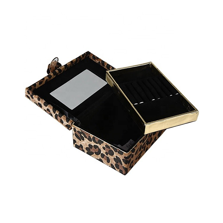 Custom Logo Leopard Velvet Material Double Layer Jewelry Box for Necklace Set