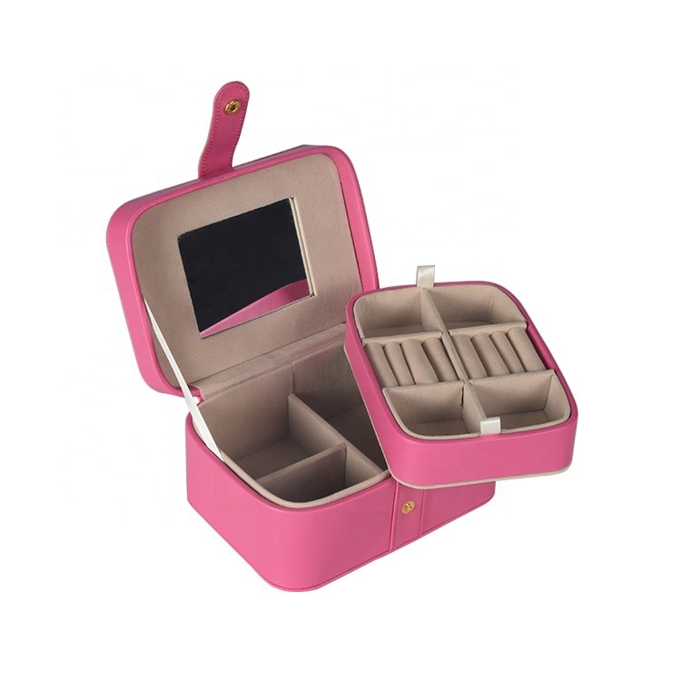 Luxury Travel Custom Mirror Pu Leather Small Jewelry Packaging Box with Button