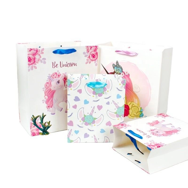 New cartoon handbag cute unicorn gift bag packaging bags paper bags wholesale manufacturers direct sales