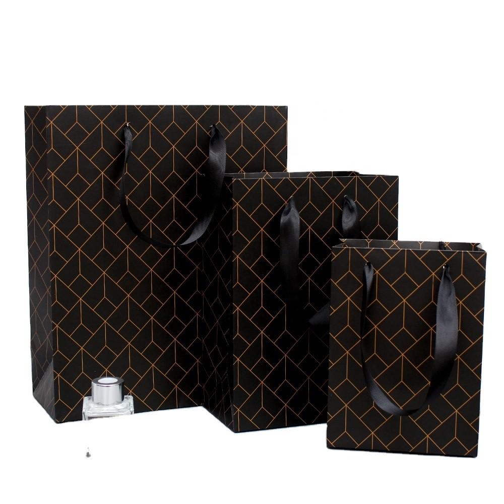 Manufacturer Custom Personalized Printed LOGOShopping Gift Black Paper Bag