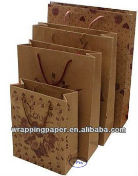 Recycled small brown kraft paper bags with window and handles