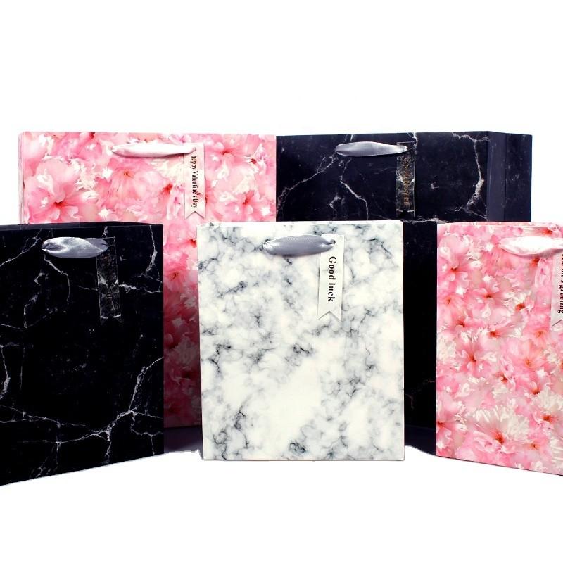 Marble paper handbag simple gift bag bronzing card handbag new handbag