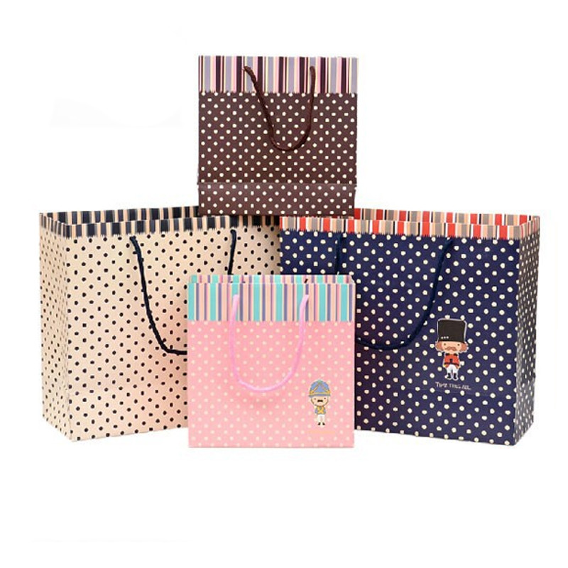 Eco-friendly Paper Shopping Bag For Cloth With Colorful Dot Printing Supported Customized