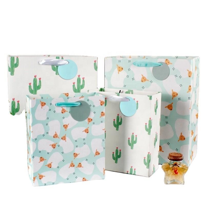 New double-sided printing embossed craft cactus handbag sheep flocking craft gift bag shopping bag paper bag