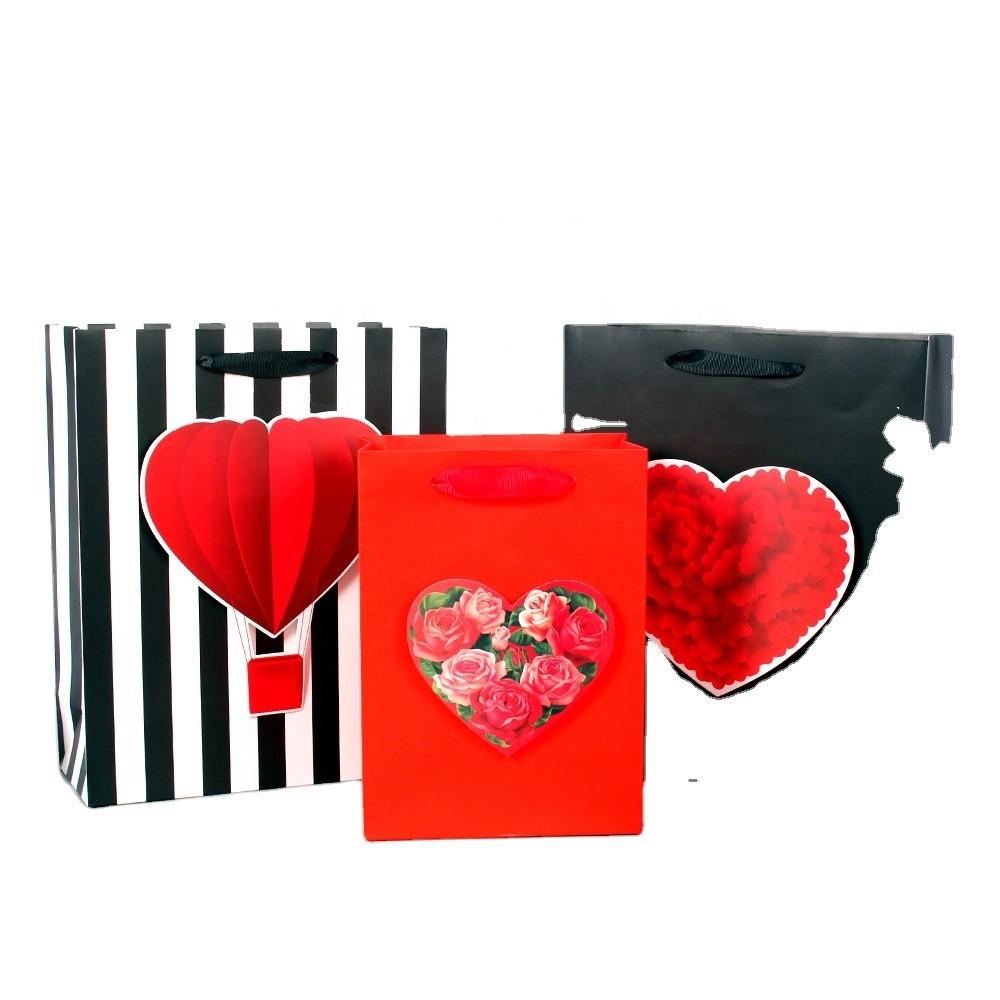 New high-end Valentine's Day handbag rose love gift bag boutique shopping bag high-end custom paper bag