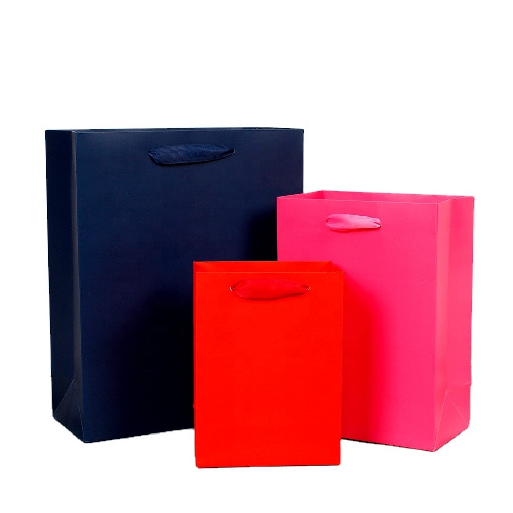 New solid color gift bag paper bag thread with high-grade gift handbag film manufacturers source direct sales