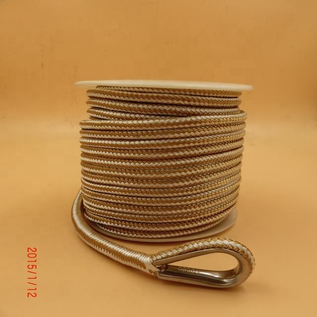solid braided anchor rope polyester rope braided boat anchor rope line