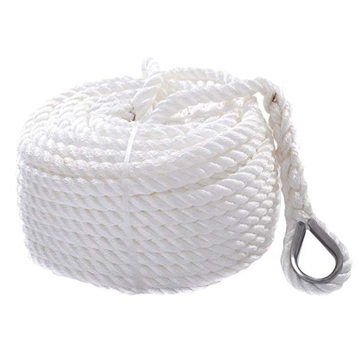 White Double Braid boat anchor rope3-strand anchor line with thimble