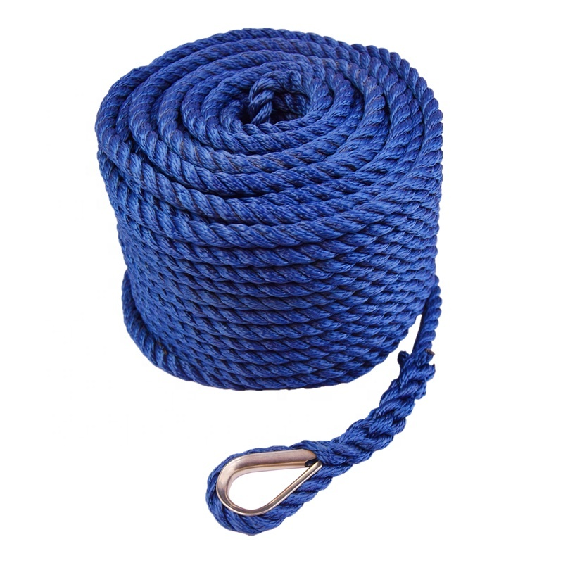 Yacht Boat Accessories Abrasion Resistance Twisted Rope Marine Anchor Line