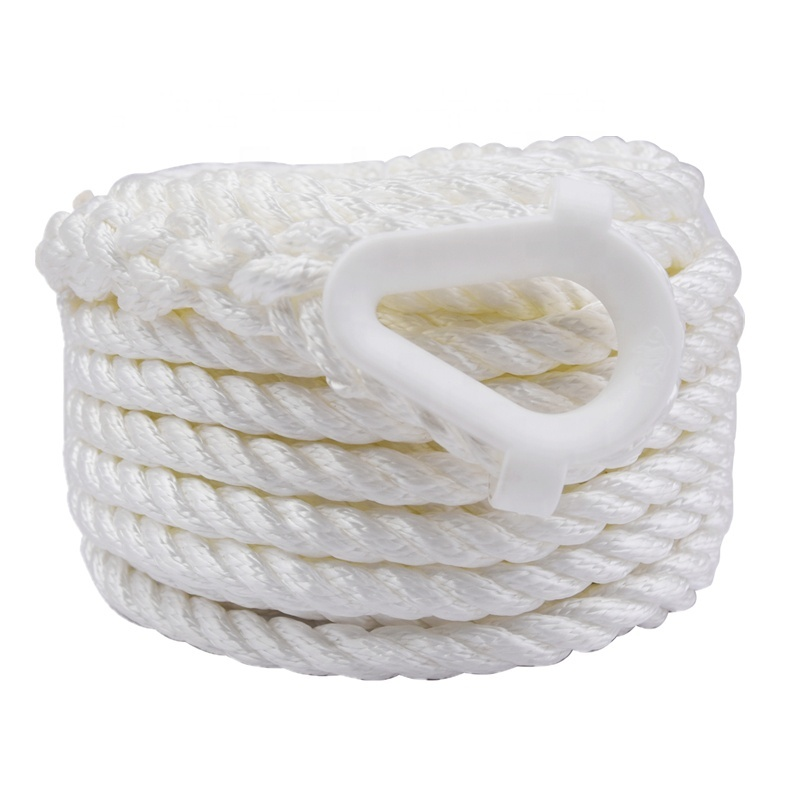 Abrasion Resistance Nylon Boat Mooring Rope White Color Twisted Anchor Line