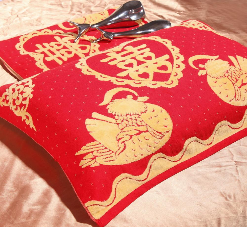 Chinese style jacquard cotton pillow towel pillow cover for wedding gifts
