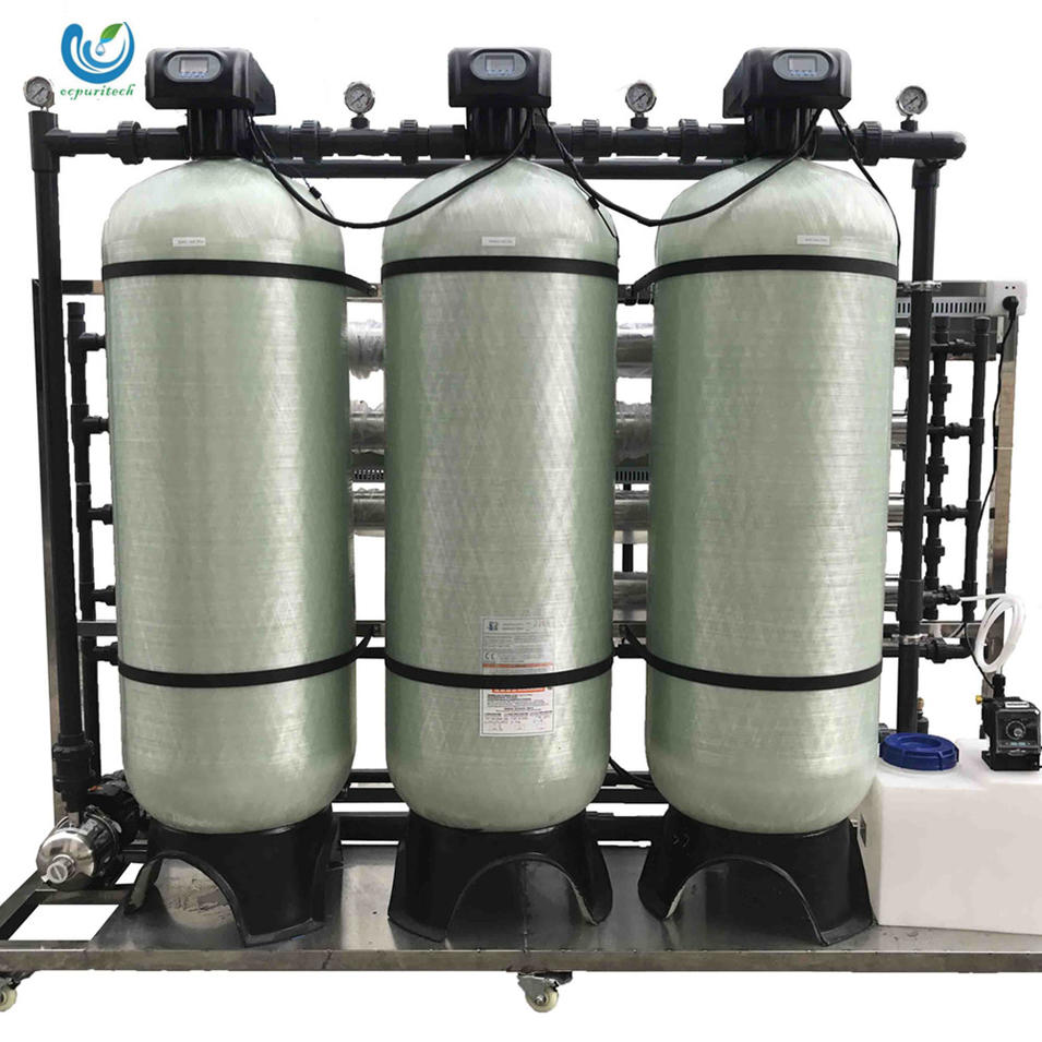 2000L/H FRP filter tank material one stage reverse osmosis system for mineral drinking water treatment plant