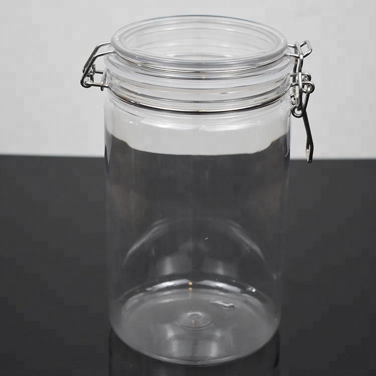 SGS 2L 2000ml clear candy container Round Shape PET Plastic Airtight Jars