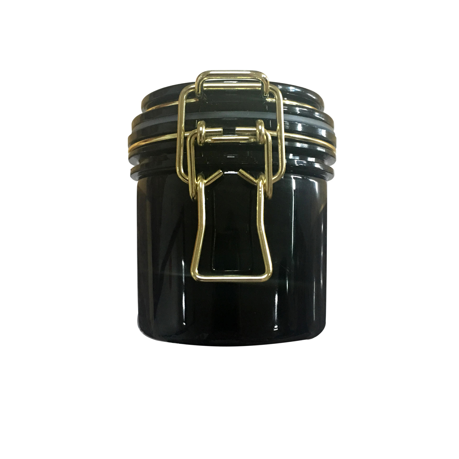 Black PET Plastic Food Mask Cosmetic Canning airtight Jar With Glod Clasp