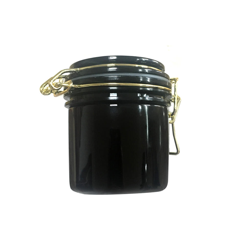 Black PET Plastic Food Mask Cosmetic Packing Canning Jar With gold metal wire