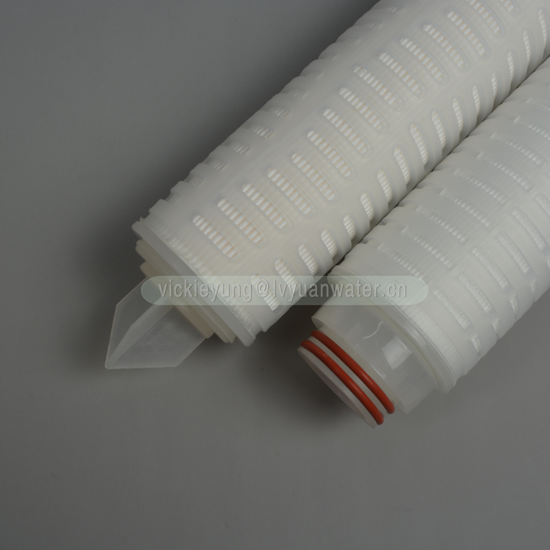 Replacement PTFE membrane 10 inch 0.2/0.45/3 micron pleated water filter element for stainless steel single round filter housing