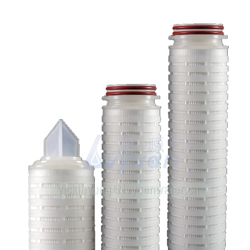 Liquid/Wine/beer/beverage filter polypropylene pleated membrane 10 inch sediment pleated filter cartridge with plastic core