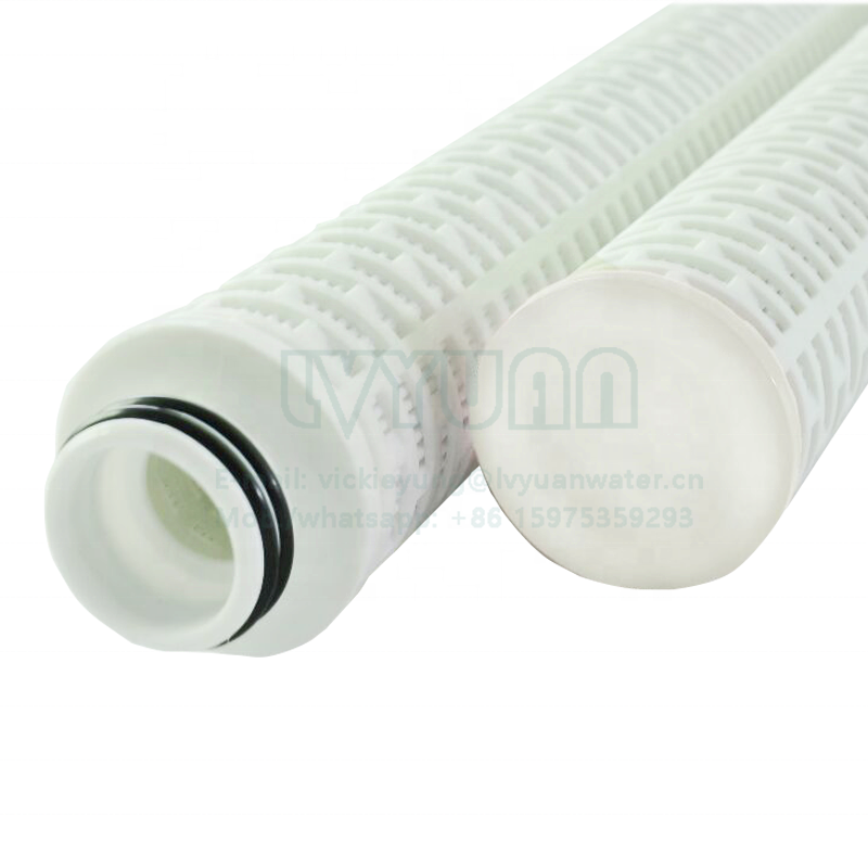 Multi folded micro membranes 10 microns 40 inch fiber glass cartridge filter element for grape wine filtering machine