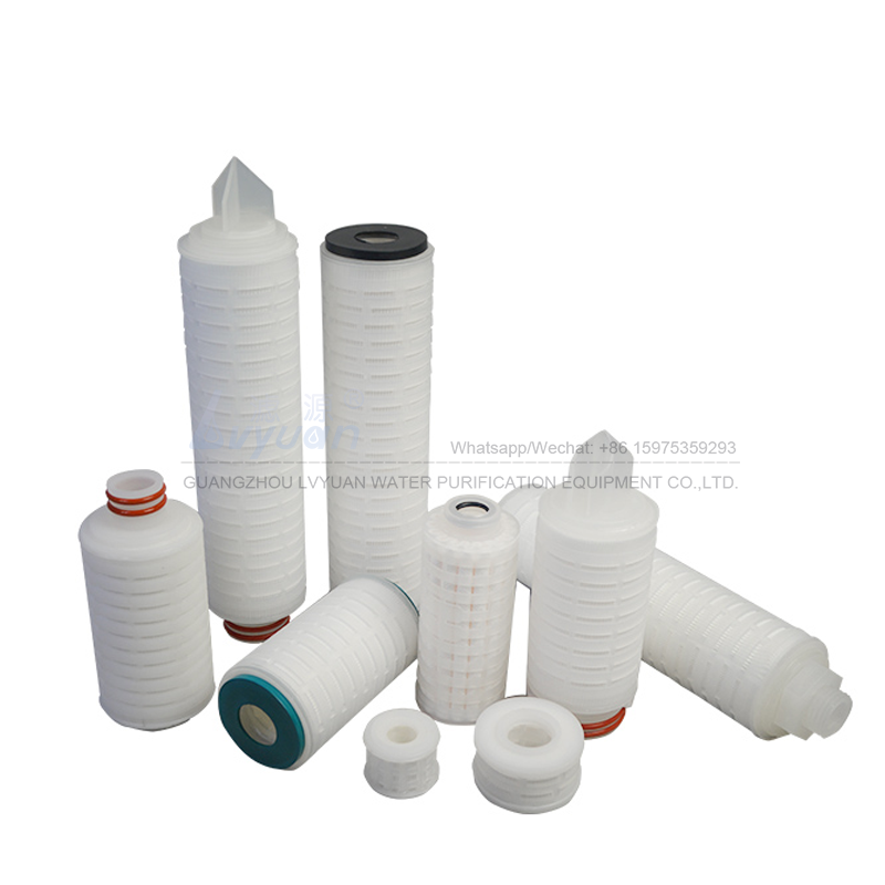 Hydrophobic PEFE PES 10/20/30/40 inch 0.1 microns pleated membrane air filter cartridge for gas air filtration system