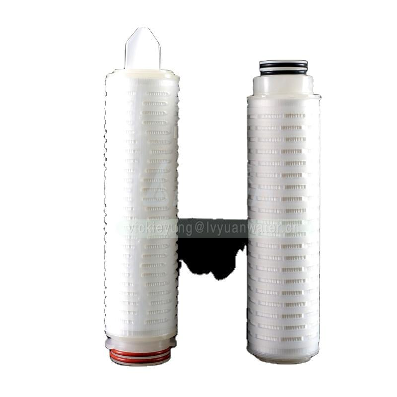 Stainless steel filter housing use 10 micron pleated membrane absolute filter cartridge for mineral RO water plant