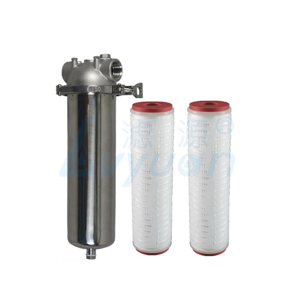 Double open 10 inch pp pleated water filter element 1 micron install in single cartridge filter housing