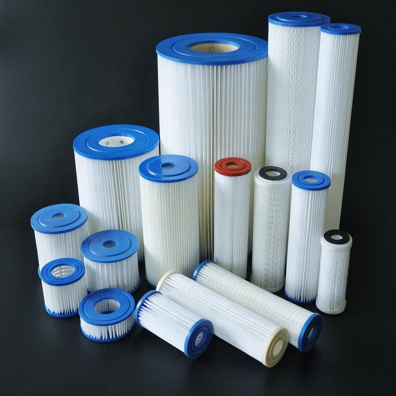2.5x10 20 4.5x10 20 inch Washable PE Polyester Pleated Poly Sediment 5 10 20 micron Water Filter Cartridge for factory China