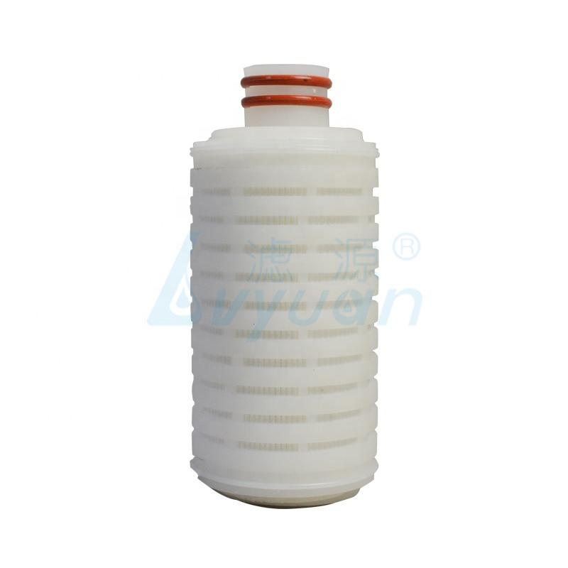 Pleated PP PTFE PES PVDF NYLON micro membrane filter water filter cartridge 0.5 micron with fin end soe 222 plastic connector