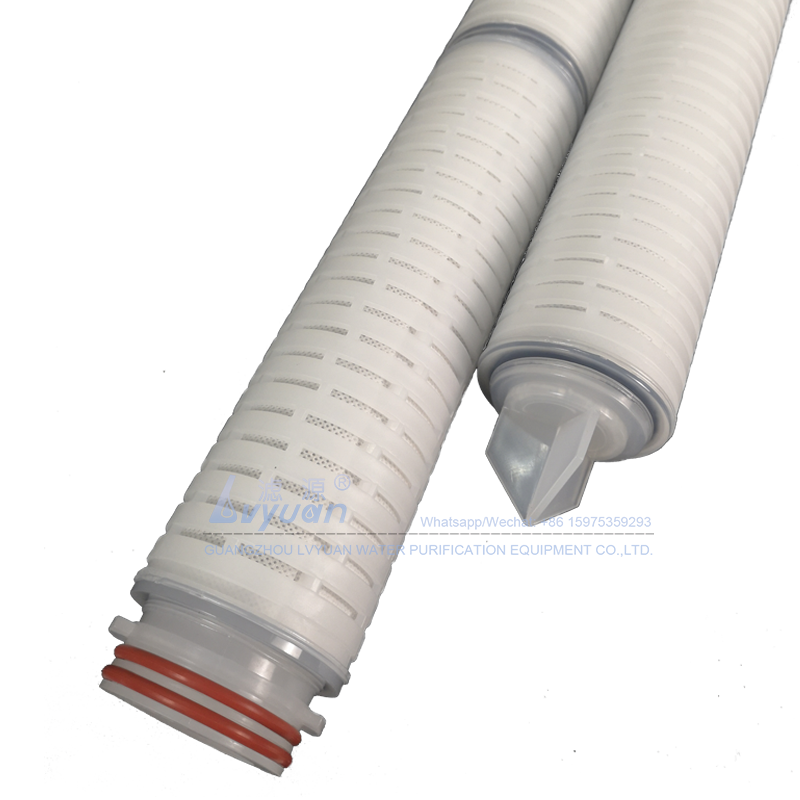 Plastic adaptor 222 226 1/5/10 microns activated carbon fiber membrane pleated filter cartridge for alcohol liquid filtration