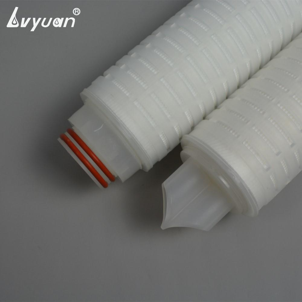 SOE micropore 10/20/30/40 inch pleated 0.2 micron filter nylon 66 membrane filter with PP 226 Fin adaptor