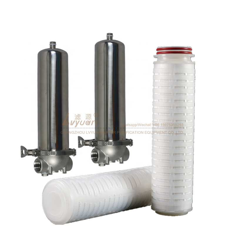 Stainless steel pre treatment housing filter 10 inch pleated PP sediment 5 micron water filter with PP SS support frame