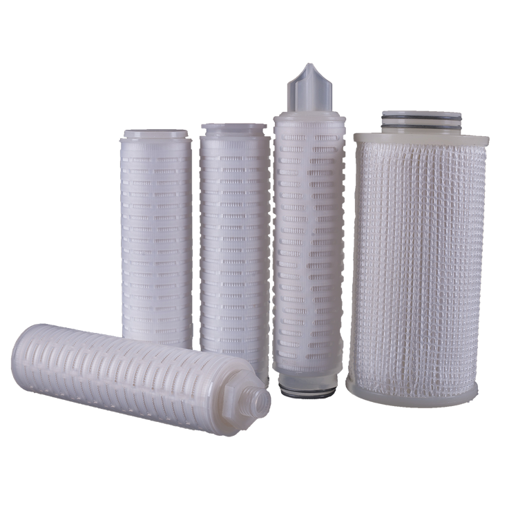 liquid water air purification Hydrophilic & hydrophobicpp sediment 1 micronPTFE membrane pleated filter cartridge