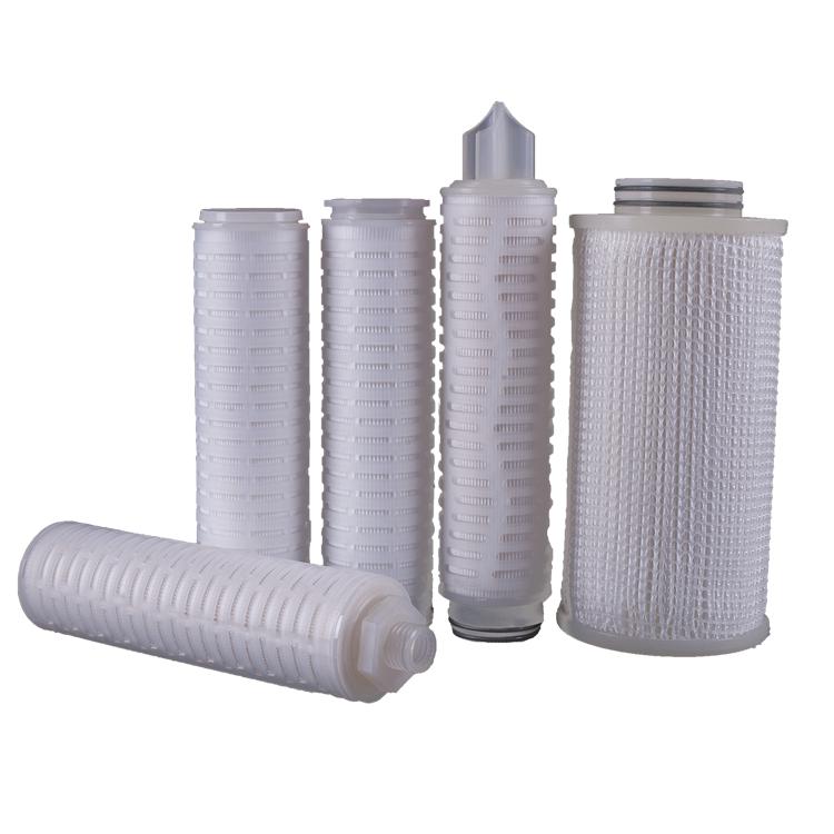 liquid water air purification Hydrophilic & hydrophobicpp sediment 1 micronPTFE membrane pleated filter cartridge