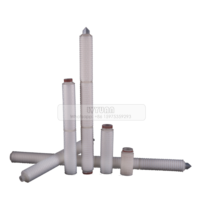Absoluted rate 0.2 0.45 micron 10/20/30 inch nylon pleated filter cartridge for mineral water treatment plant