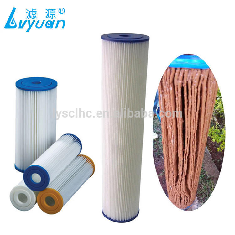 High flow washable paper pleated filter cartridge/swimming pool filter cartridge for big blue housing 10 20 inch