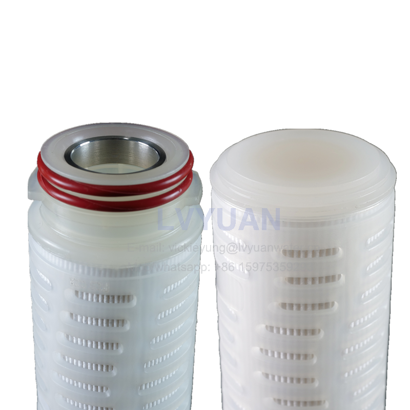 2 micron polypropylene (PP) material 10 inch water pleated filter cartridge with plastic or stainless steel core