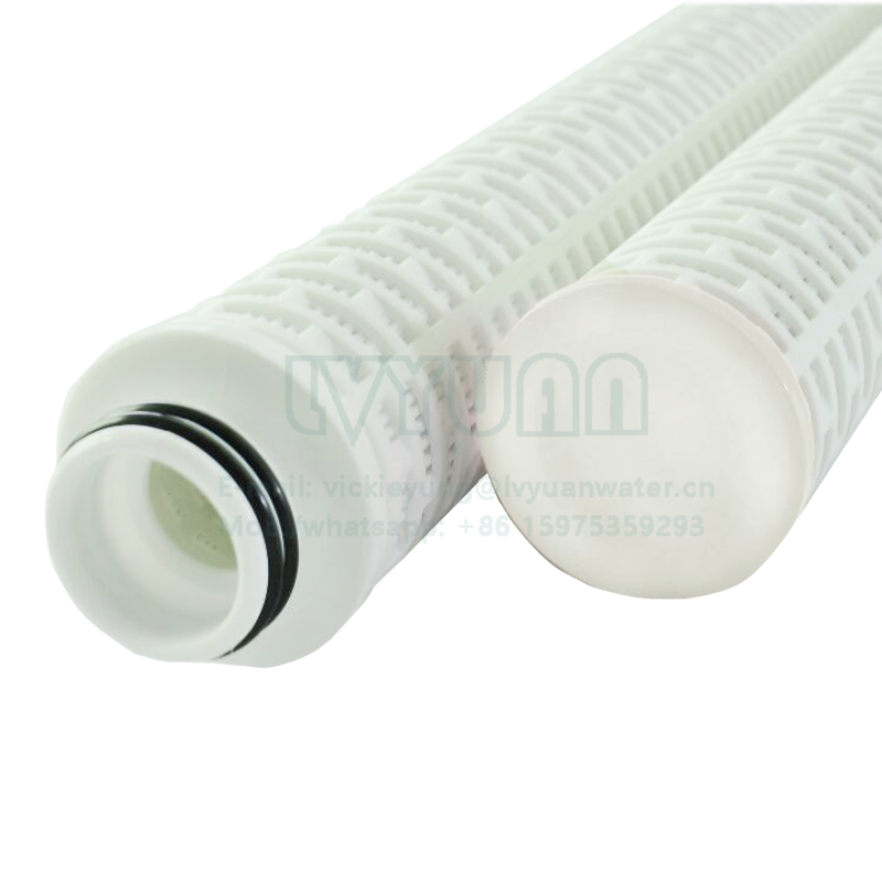 Oil folded filter 10/20/30/40/50 inch 1 microns pleated fiberglass filter cartridge with PP plastic core 222 O rings