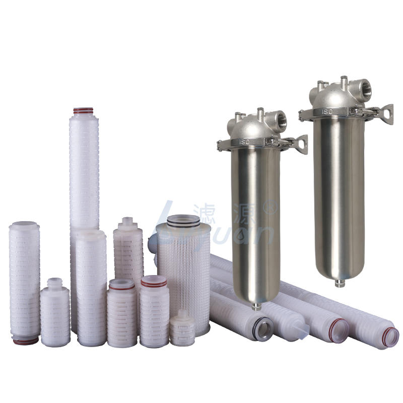 SS housing filter pleated 10/20/30/40 inch PP/PTFE/PES/PVDF/N6 0.2 micron membrane filter cartridge for single housing