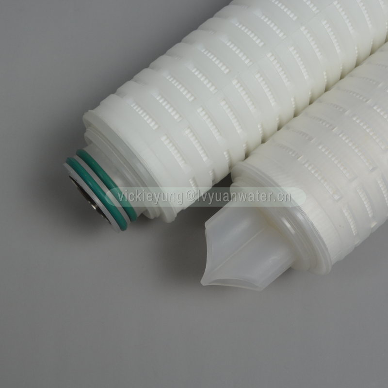 Big flow 20 inch Polypropylene PP membrane sediment filter pleated 0.45 micron filter cartridge with 227 Fin plastic PP cap