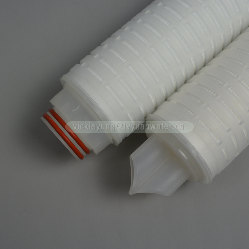 Industrial chemical filter folded membrane 222 ss ring 10 inch pleated PTFE membrane 0.2 0.45 micron filters